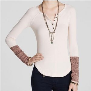 Free People pink Thermal with cuffs